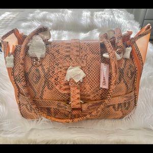 New!! Chrome Bones orange python dog/ cat bag